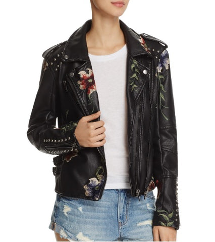 Floral Embroidered Studded Faux Leather