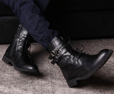 Military Leather Boots - Black Color
