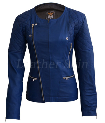 dark blue womens leather jacket