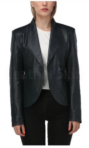 womens navy blue leather blazer