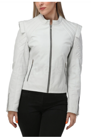 womens white quilted leather jacket