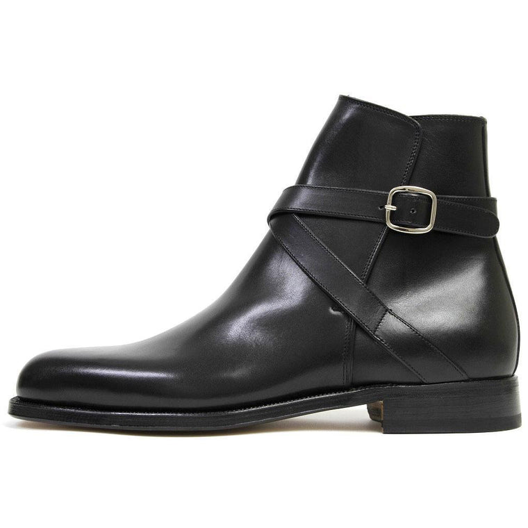 Men Black Jodhpur Ankle Genuine Leather Boots