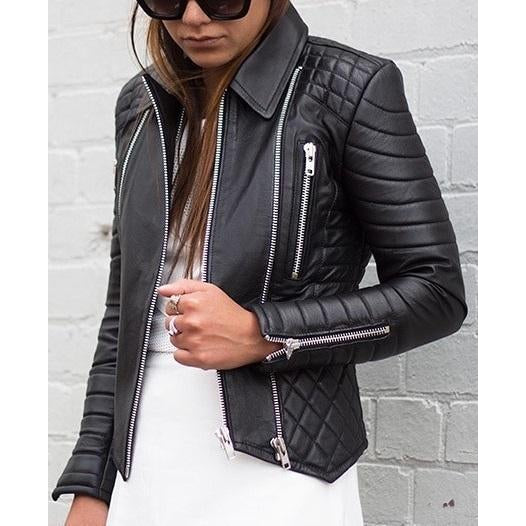 Leather Skin Women Black Padded Quilted Brando Leather Jacket