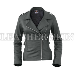 Leather Skin Women Dark Gray Brando Synthetic Leather Jacket