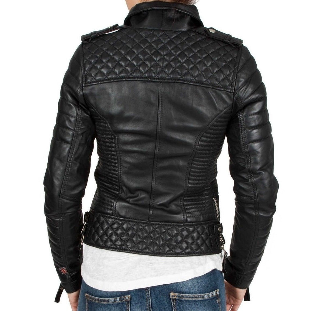 Leather Skin Women Black Padded Diamond Quilted Brando Leather