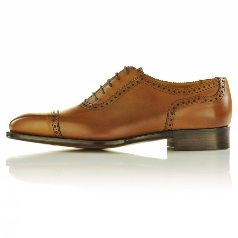 Men Tan Brogue Laces Genuine Leather Shoes