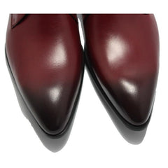 Men Maroon Pointed Toe Strap Genuine Leather Boots