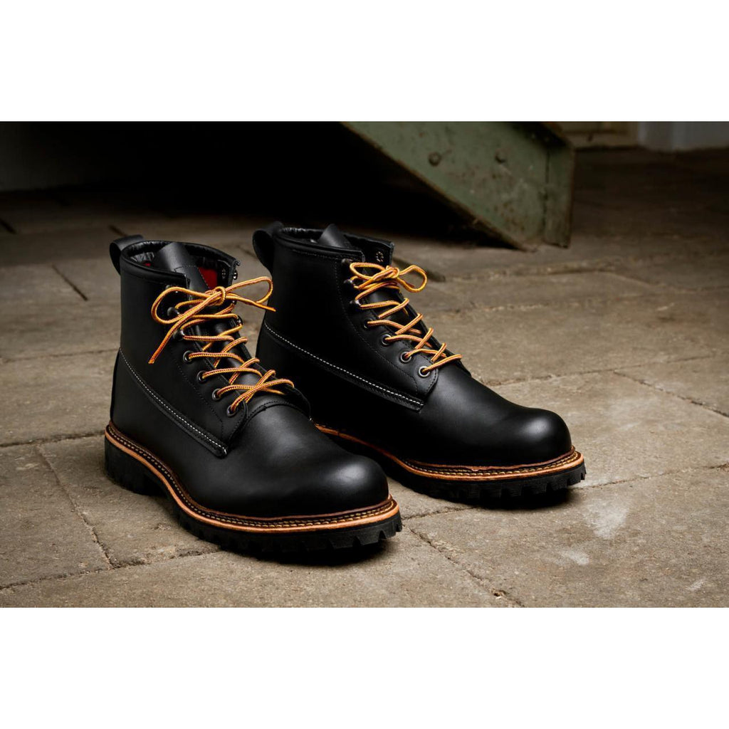 Men Black Military Lace Up Genuine Leather Boots Black