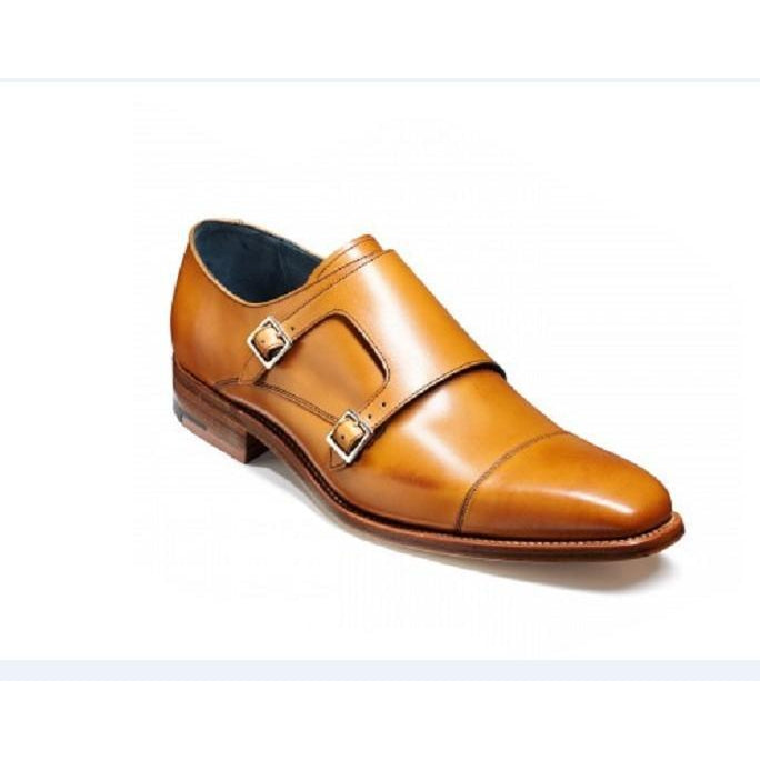 Men Tan Double Monk Straps Genuine Leather Shoes
