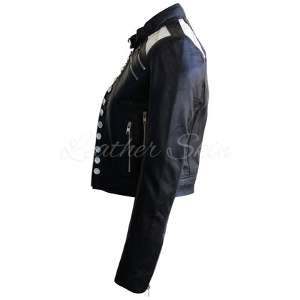 Leather Skin Women Black Leather Jacket with Diamond White Buttons