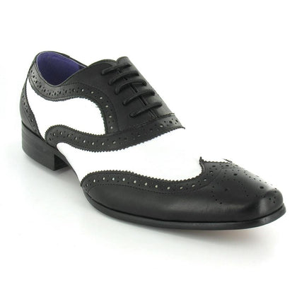 Men Black White Brogue Wingtip Genuine Leather Shoes