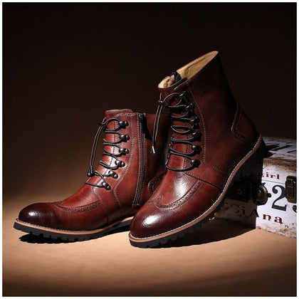 Men Maroon Brogue Wingtip Military Lace Up Zipped Genuine Leather Boots