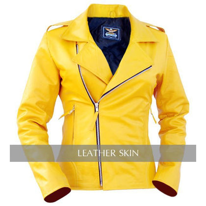 Leather Skin Women Ladies Bright Yellow Brando Genuine Leather Jacket