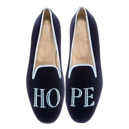 Men Blue Velvet Slippers Shoes with Embroidery