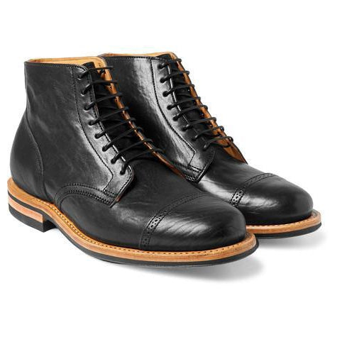 Men Black Lace up Ankle Genuine Handmade Leather Boots with Brown Outsole