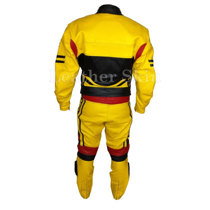 Yellow Genuine Motorcycle Biker Racing Premium Genuine Real Leather Jacket with Black Stripes