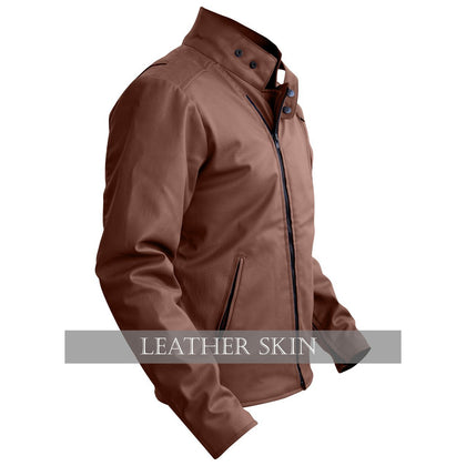 NWT Stylish Brown Men Stylish Synthetic  Leather Jacket