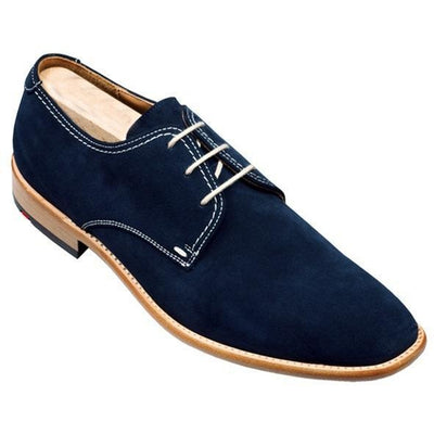 Men Blue Derby Suede Leather Shoes with White Laces