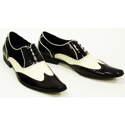 Men Black White Brogue Genuine Leather Shoes with Pointed toe