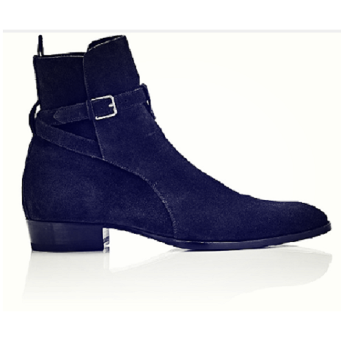 Men Blue Jodhpurs Ankle Suede Leather Boots
