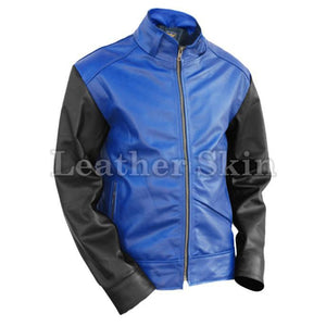 Leather Skin Men Blue Genuine Leather Jacket with Black Sleeves