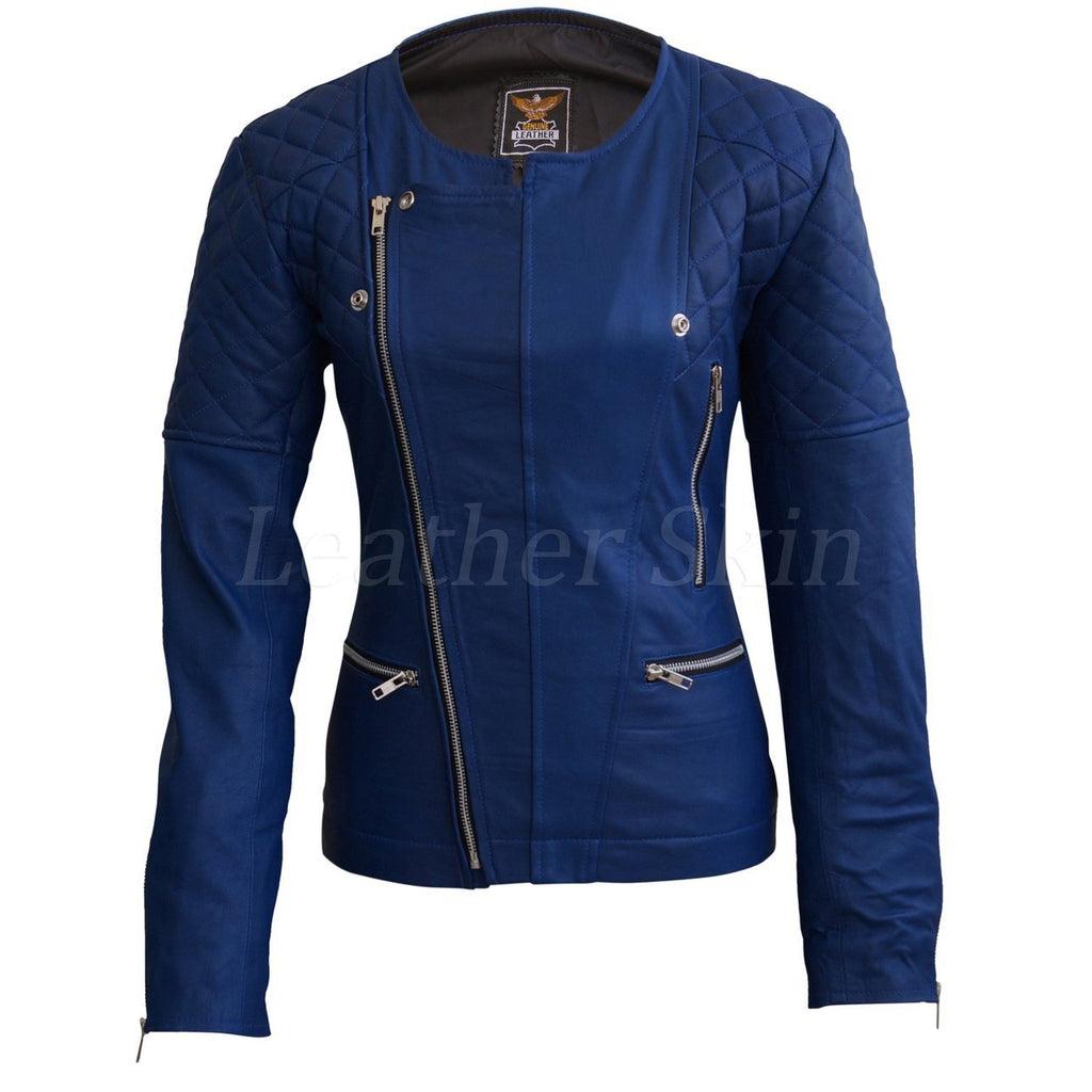 Leather Skin Women Blue Shoulder Quilted Collarless Genuine Leather Jacket