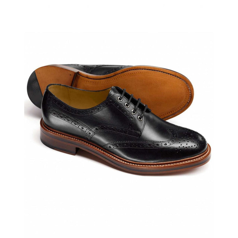 Men Black Brogue Wingtip Genuine Derby Leather Shoes