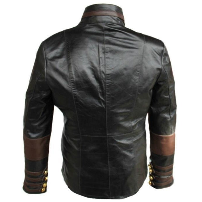Leather Skin Women Black Military Leather Jacket with Brown Stripes