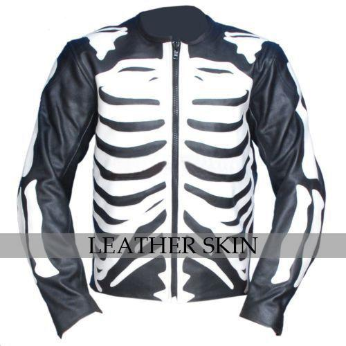 Black Skeleton Motorcycle Biker Racing Premium Genuine Real Pure Leather Jacket