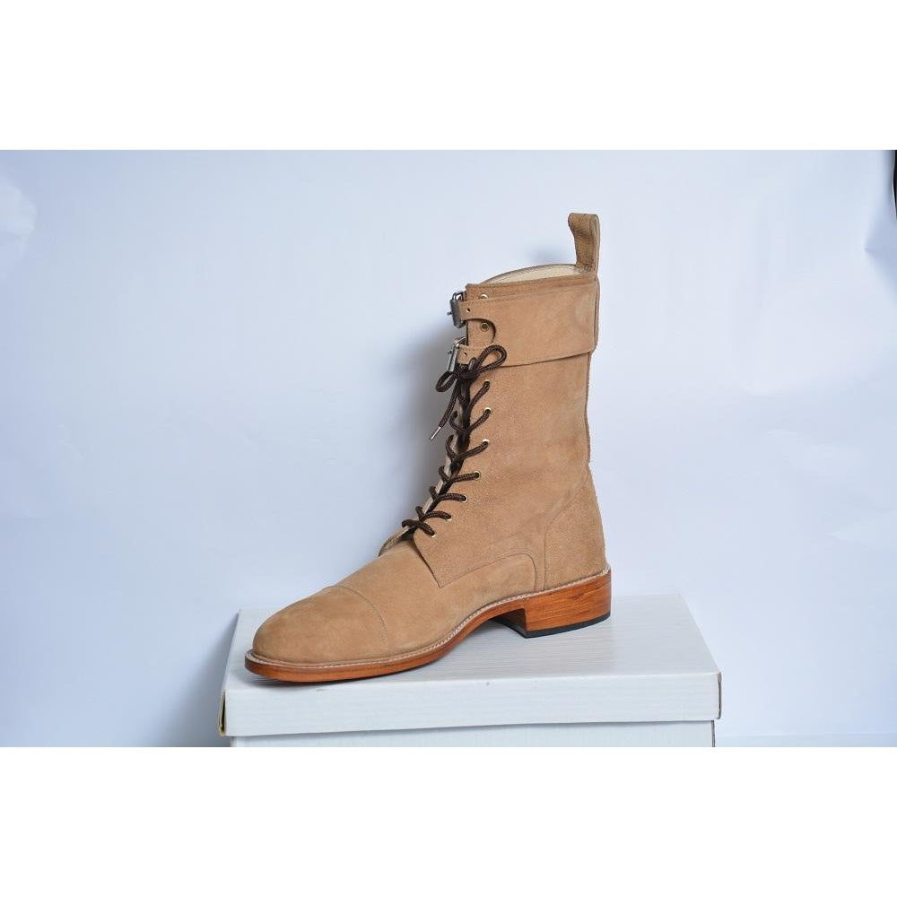 Men Beige Ankle Lace Up Suede Leather Boots