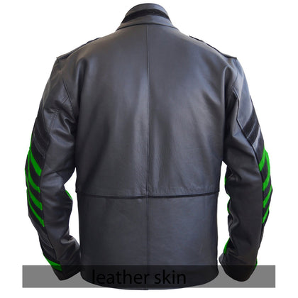 NWT Stylish Black Men Miltary Genuine Leather Jacket with green Sleeves