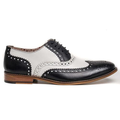 Men Black White Oxford Brogue Wingtip Laces Genuine Leather Shoes