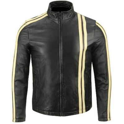 Leather Skin Men Black Fashion Premium Genuine Real Leather Jacket with Cream Stripes