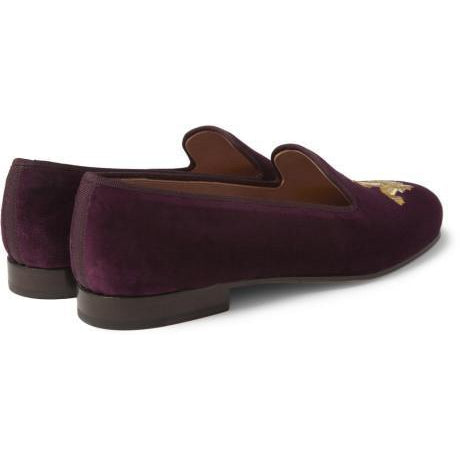 Men Purple Velvet Embroidery Loafer Slipper Shoes