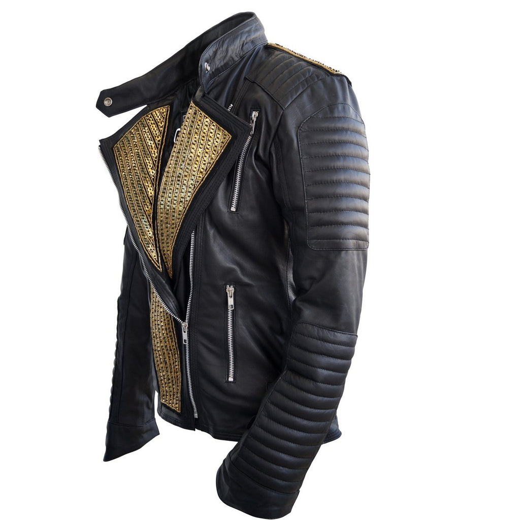 Leather Skin Women Black Genuine Leather Jacket with Gold Stars