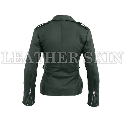 Leather Skin Women Dark Green Brando Synthetic Leather Jacket