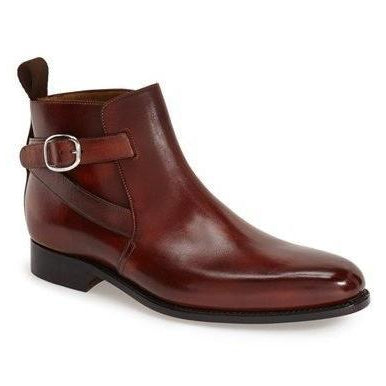 Men Burgundy Jodhpurs Ankle Genuine Leather Boots Burgundy