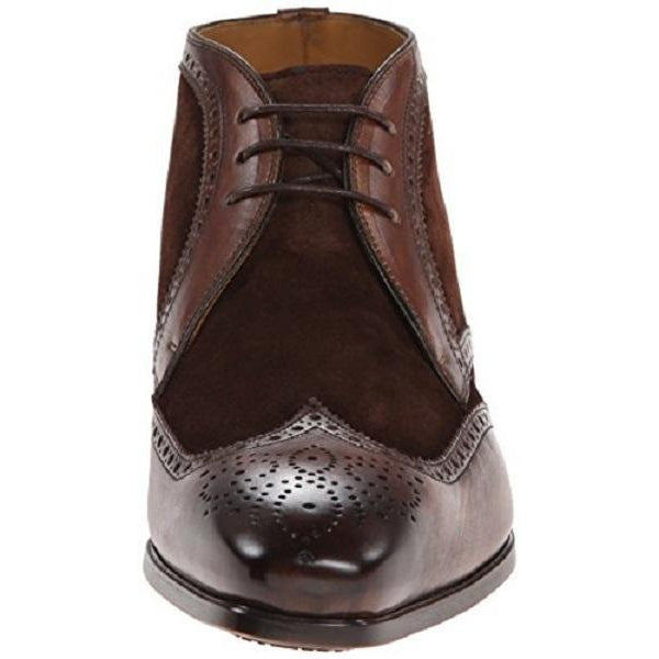 Men Brown Brogue Wingtip Suede & Genuine Leather Boots