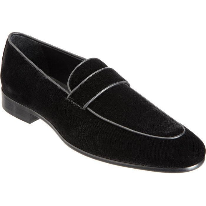 Men Black Velvet Loafer Shoes