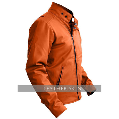 NWT Stylish Orange Men Stylish Synthetic  Leather Jacket
