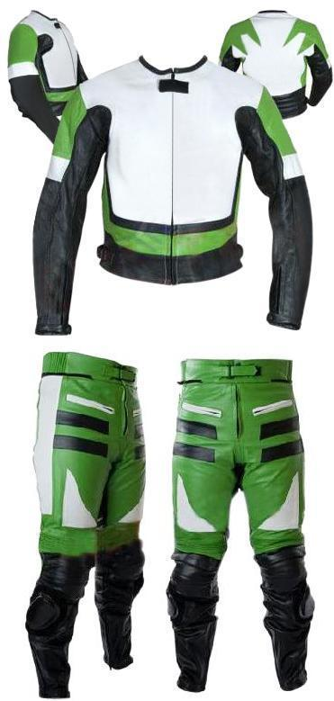 Leather Skin Men Green & White Biker Motorcycle Premium Genuine Leather Jacket Trouser Suit