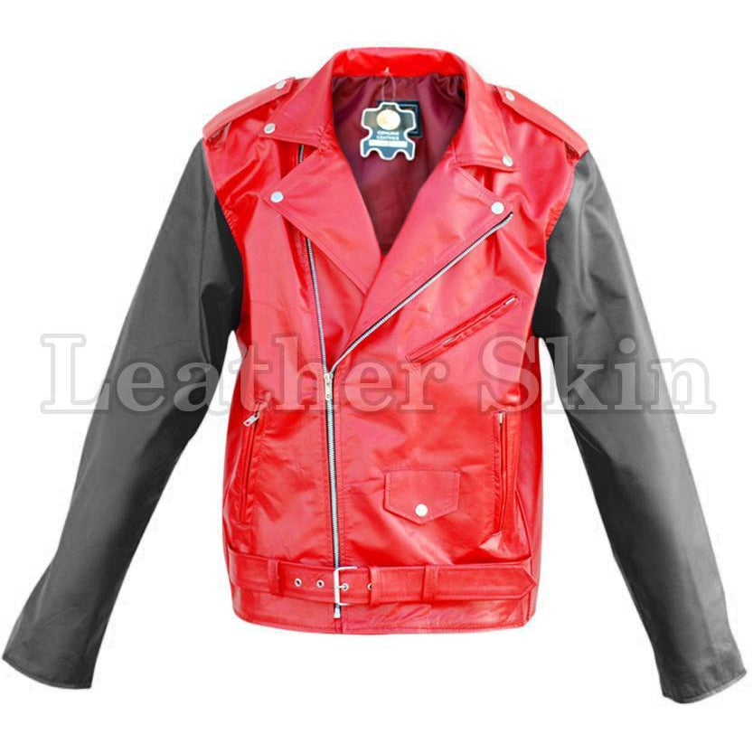 Leather Skin Red Brando Genuine Leather Jacket with Black Sleeves