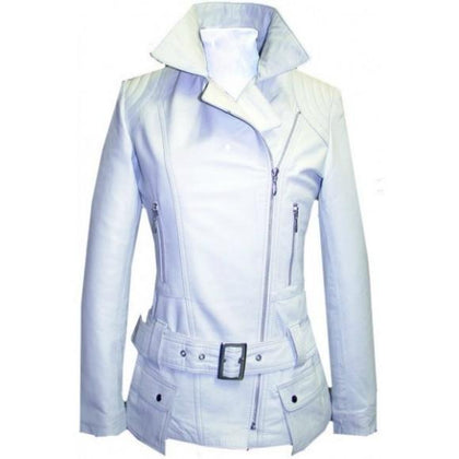 Leather Skin Women White Belted High Quality Premium Leather Jacket