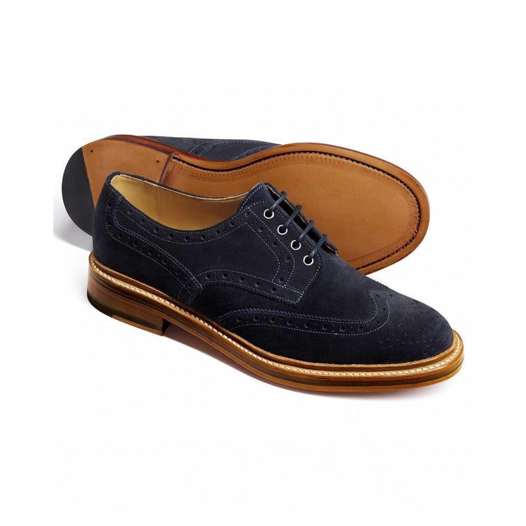 Men Blue Brogue Wingtip Suede Derby Leather Shoes