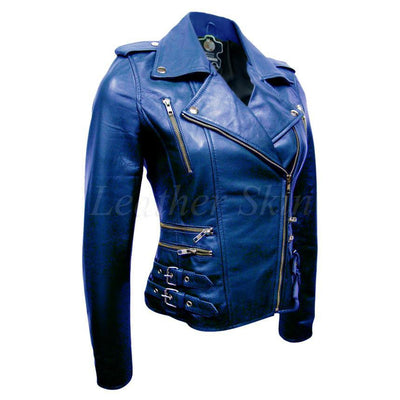 Leather Skin Women Blue Brando Biker Motorcycle Genuine Leather Jacket