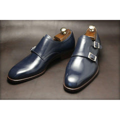 Men Navy Blue Single Monk Genuine Leather Shoes