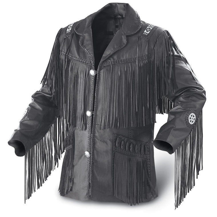 Leather Skin Men Black Western Fringes Cowboy Genuine Real Leather Jacket