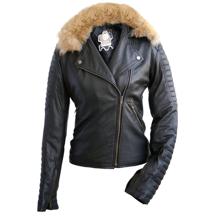 Leather Skin Brando Women Black Leather Jacket with Detachable Original Fox Fur