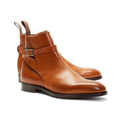 Men Brown Jodhpur Genuine Leather Boots