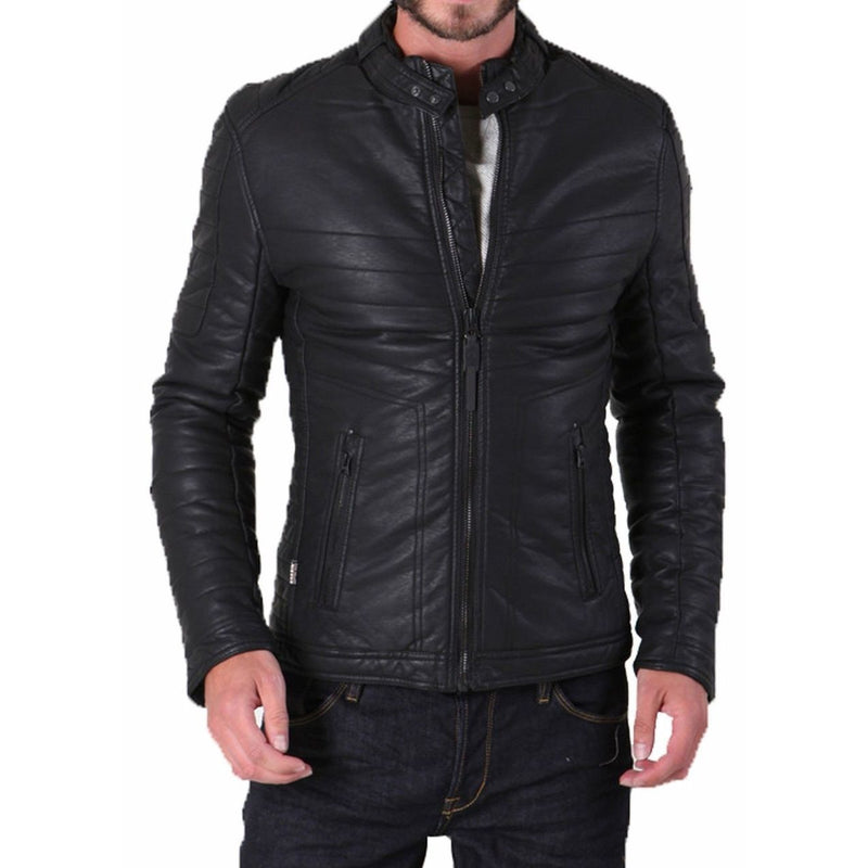 Leather Skin Handmade Men Black Quilted Leather Jacket with Rib Quilting Design